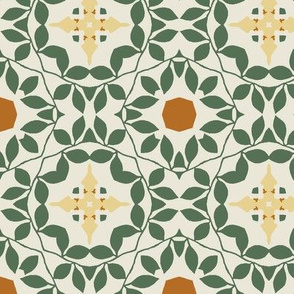 Green, Cream and Orange Floral