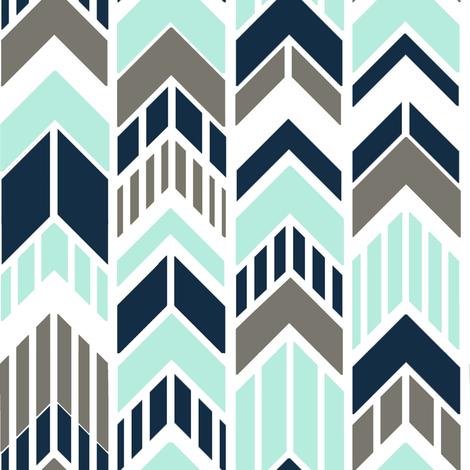 Chevron Arrows Navy Gray Aqua Stripes fabric by googoodoll on Spoonflower - custom fabric