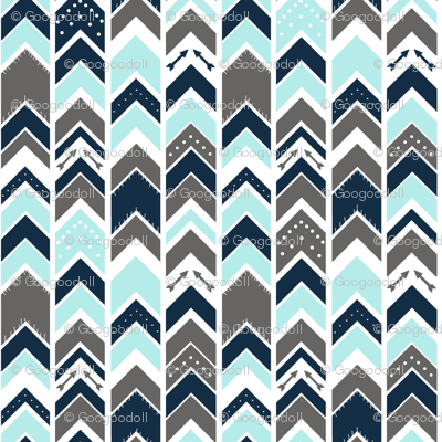 Arrows Chevron Gray Navy Sky Blue Fringe