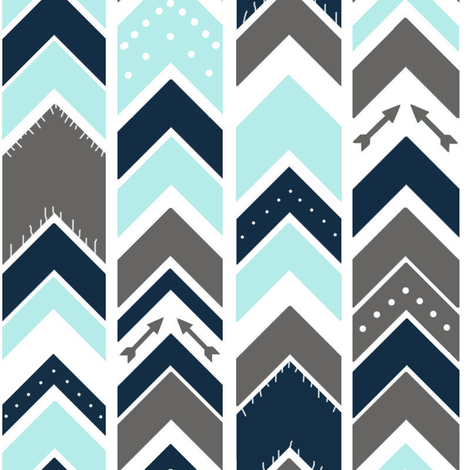 Arrows Chevron Gray Navy Sky Blue Fringe fabric by googoodoll on Spoonflower - custom fabric