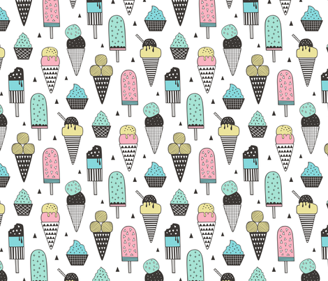 Ice Cream Geometric Triangles  fabric by caja_design on Spoonflower - custom fabric