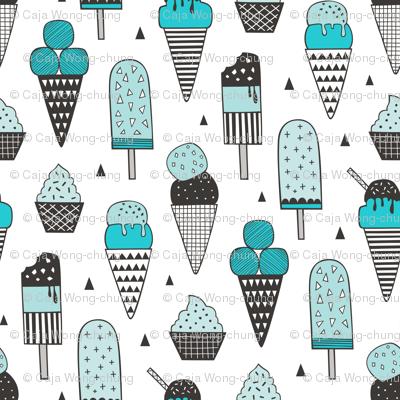 Ice Cream Geometric Triangles in Aqua Blue