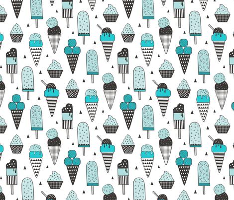 Ice Cream Geometric Triangles in Aqua Blue fabric by caja_design on Spoonflower - custom fabric