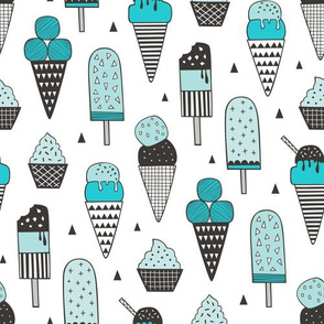 Ice Cream Geometric Triangles in Aqua Blue