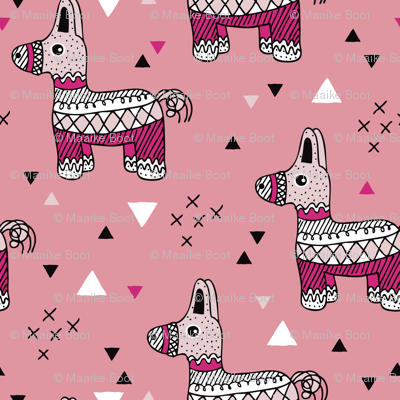 Cool piñata Llama birthday party mexican horse illustration geometric details pink