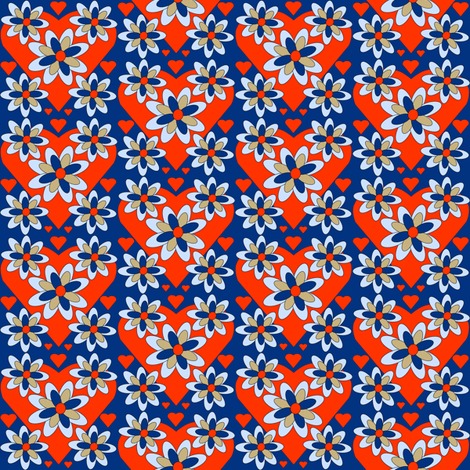 Colonial Raggedies Flowers and Hearts Fabric #5 fabric by lworiginals on Spoonflower - custom fabric