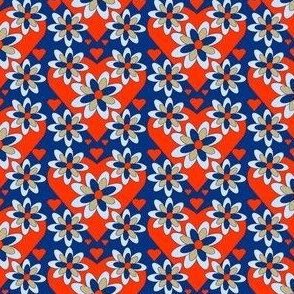 Colonial Raggedies Flowers and Hearts Fabric #5