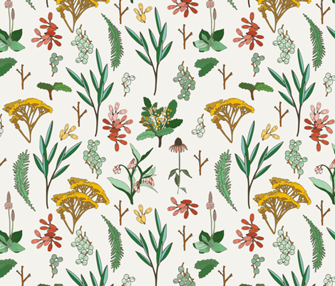 herbal_study_light fabric by holli_zollinger on Spoonflower - custom fabric