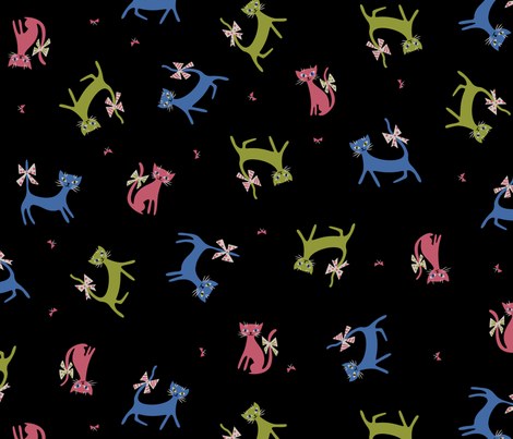 Frolicking Felines in Black fabric by mintgreensewingmachine on Spoonflower - custom fabric