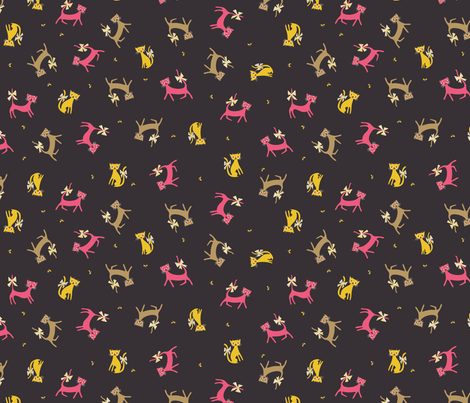 Frolicking Felines in Plum fabric by mintgreensewingmachine on Spoonflower - custom fabric