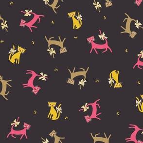 Frolicking Felines in Plum
