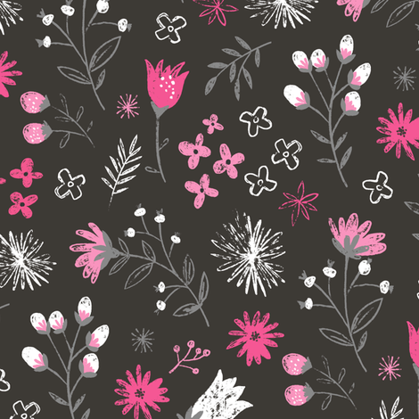 Charcoal Floral Pencil Hand Drawn Pink fabric by caja_design on Spoonflower - custom fabric