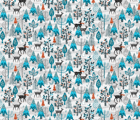 Winter Snow Woodland Animals Small fabric by mariafaithgarcia on Spoonflower - custom fabric
