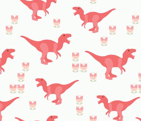 Prehistoric Pink T-Rex Dinosaur fabric by mariafaithgarcia on Spoonflower - custom fabric