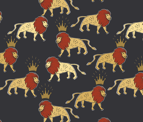 leo_lion_black_and_rust fabric by holli_zollinger on Spoonflower - custom fabric