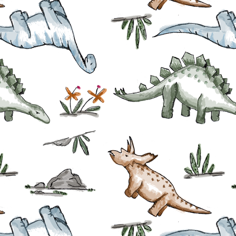 Watercolor Dinos  fabric by averielaneboutique on Spoonflower - custom fabric