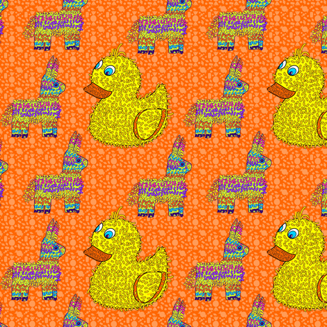 Rainbow Mexican Pinata Candy || Orange Yellow  Rubber Duck Pony Kid Mexico Horse Purple Blue Birthday _Miss Chiff Designs fabric by misschiffdesigns on Spoonflower - custom fabric