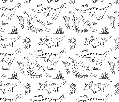 Sketched Dinosaurs in B&W fabric by averielaneboutique on Spoonflower - custom fabric