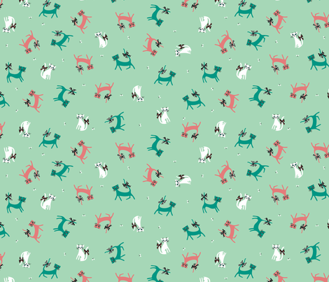 Frolicking Felines in Mint fabric by mintgreensewingmachine on Spoonflower - custom fabric