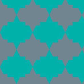 Modern Aztec Quatrefoil Dark Mint Gray