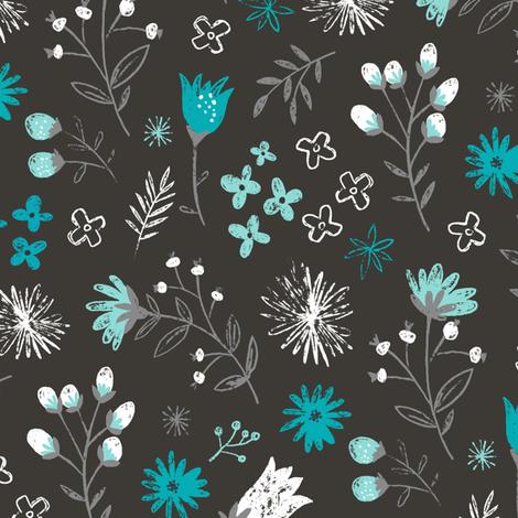 Charcoal Floral Pencil Hand Drawn Aqua fabric by caja_design on Spoonflower - custom fabric