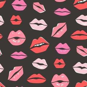 Lips Kiss Valentine Lipstick Love Red Pink on Black