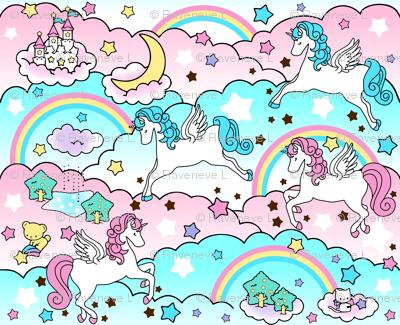 Pegasus winged unicorns pegacorns stars rainbows clouds trees ponds lakes teddy bears shooting cats fairy kei lolita sky skies pony ponies horses  sanrio inspired little twin stars moon castles