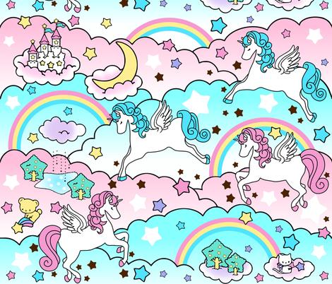 1 Pegasus winged unicorns pegacorns stars rainbows clouds trees ponds lakes teddy bears shooting cats fairy kei lolita sky skies pony ponies horses kawaii japanese inspired moon castles  colorful fabric by raveneve on Spoonflower - custom fabric