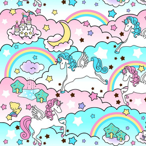 1 Pegasus winged unicorns pegacorns stars rainbows clouds trees ponds lakes teddy bears shooting cats fairy kei lolita sky skies pony ponies horses  sanrio inspired little twin stars moon castles  colorful