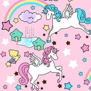 2 Pegasus winged unicorns pegacorns stars rainbows clouds trees ponds lakes teddy bears shooting cats fairy kei lolita sky skies pony ponies horses kawaii japanese inspired moon castles  colorful