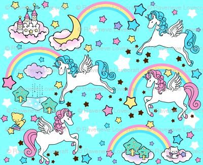 3 Pegasus winged unicorns pegacorns stars rainbows clouds trees ponds lakes teddy bears shooting cats fairy kei lolita sky skies pony ponies horses kawaii japanese inspired moon castles  colorful