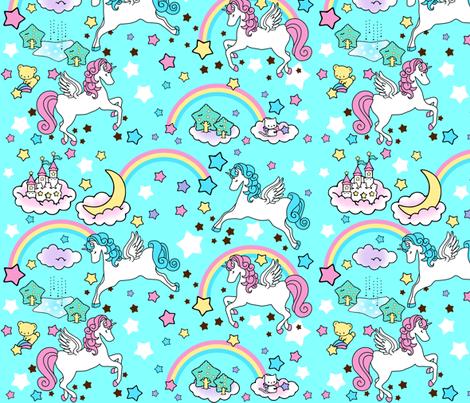 3 Pegasus winged unicorns pegacorns stars rainbows clouds trees ponds lakes teddy bears shooting cats fairy kei lolita sky skies pony ponies horses kawaii japanese inspired moon castles  colorful fabric by raveneve on Spoonflower - custom fabric
