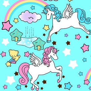 3 Pegasus winged unicorns pegacorns stars rainbows clouds trees ponds lakes teddy bears shooting cats fairy kei lolita sky skies pony ponies horses kawaii japanese inspired moon castles  colorful