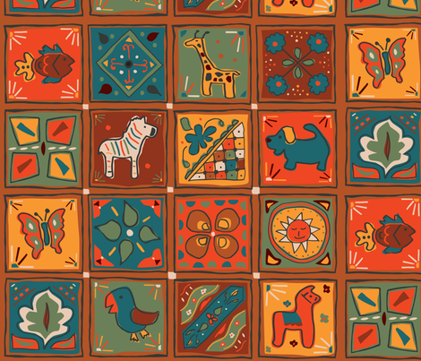 Mexican_Pinata_Tile fabric by sally_stetson_design on Spoonflower - custom fabric