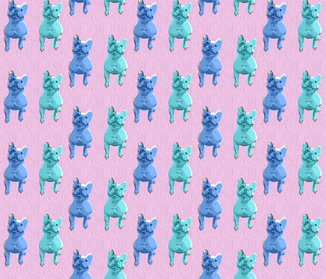 Bertie x 2 - blue and teal with pink background fabric by hollywood_royalty on Spoonflower - custom fabric