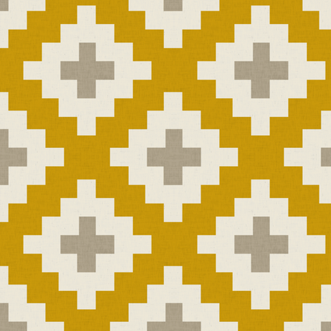 Southwest in Gold half scale fabric by willowlanetextiles on Spoonflower - custom fabric