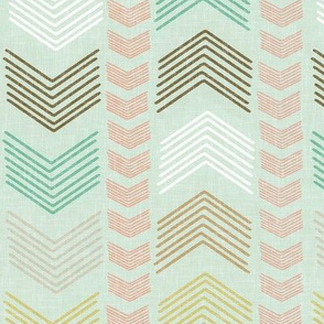 Herringbone in Coral and Mint