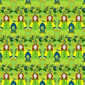 Doris Marie Victorian Doll, Birds, and Flowers Yellow  Fabric #1