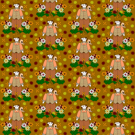 Elmer Victorian Doll, Birds and Flowers Fabric #1 fabric by lworiginals on Spoonflower - custom fabric