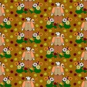 Elmer Victorian Doll, Birds and Flowers Fabric #1