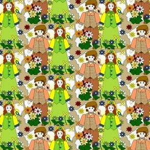 Elmer and Doris Marie Victorian Dolls, Birds and Flowers Fabric #1