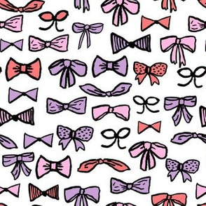 bows // beauty fashion hair cute girly purple pink illustration for girls fabric repeating pattern