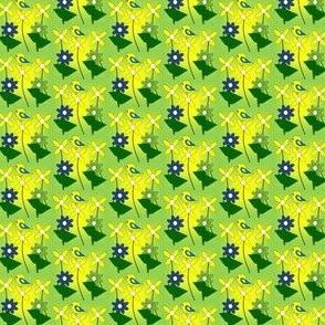 Doris Marie Yellow Flowers and Birds Fabric #3
