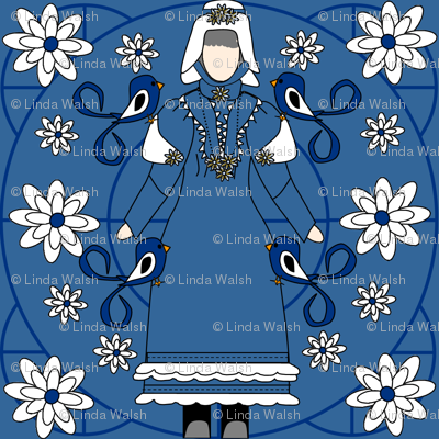 Blue Bell Sara Victorian Lady, Birds and Flowers Fabric #1