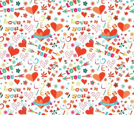 Colourful love fabric by lidiebug on Spoonflower - custom fabric