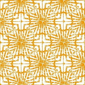 Crackled Yellow and White Abstract