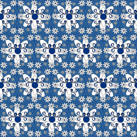 Blue Bell Sara Victorian Lady Birds and Flowers Fabric #2 fabric by lworiginals on Spoonflower - custom fabric