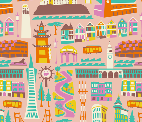 Going to San Francisco fabric by allisonbeilkedesigns on Spoonflower - custom fabric