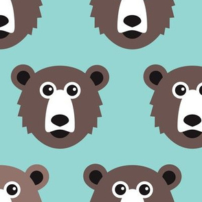 Cute blue retro scandinavian style grizzly winter bear illustration pattern XL