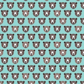 Cute blue retro scandinavian style grizzly winter bear illustration pattern XS